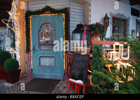 entrance to Tyrolean cafe Mayrhofen Austria - Stock Photo