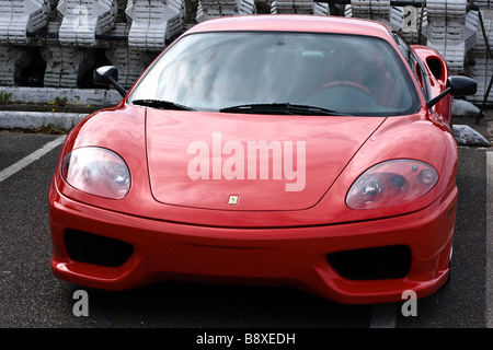 A beautiful red Ferrari F430 at the italian day car show 2008 - Stock Photo