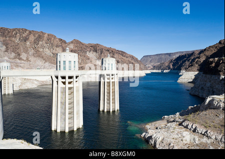Lake Mead at the Hoover Dam showing the unprecedented low water levels, Arizona/Nevada, USA - Stock Photo