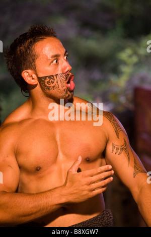 Maori Haka Ritual Dance Rotorua New Zealand - Stock Photo