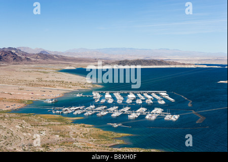 View of Las Vegas Boat Harbor from Lakeview Overlook near the Hoover Dam, Lake Mead, Nevada, USA - Stock Photo