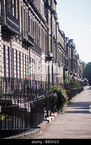 Edinburgh, view eastwards along the north side of Heriot Row. - Stock Photo