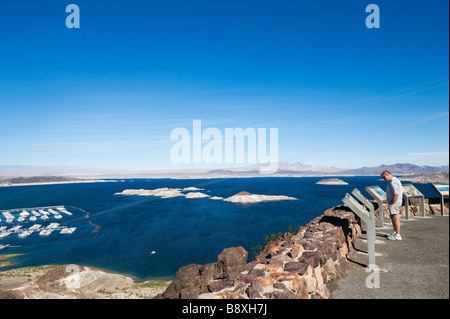 View over Lake Mead from Lakeview Overlook near the Hoover Dam, Nevada, USA - Stock Photo