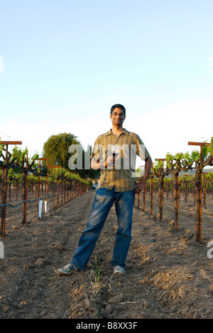 man standing in wine vineyard - Stock Photo