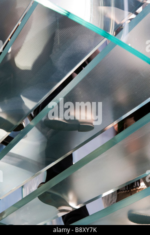 Glass staircase Apple Computer Store Fifth Avenue Manhattan New York NY - Stock Photo