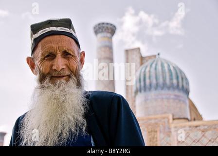 Old man near the Registan, Samarcand, Uzbekistan - Stock Photo