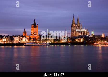 Cologne Cathedral viewed over the Rhine Cologne Westphalia Germany - Stock Photo