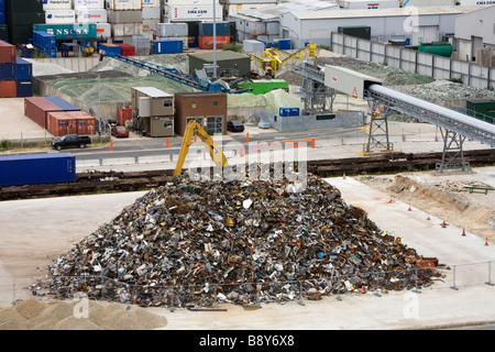 Heap of metal scrap at the commercial dock, Southampton, Hampshire, England - Stock Photo