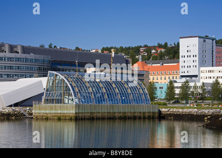 Buildings at the waterfront, Polaria Museum, Tromso, Toms County, Nord-Norge, Norway - Stock Photo