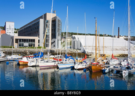 Yachts at a marina, Polaria Museum, Tromso, Toms County, Nord-Norge, Norway - Stock Photo