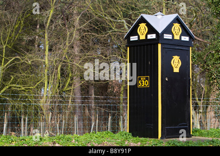 Traditional AA telephone box (no 530) next to a lay-by on the A149 near Brancaster North Norfolk UK - Stock Photo