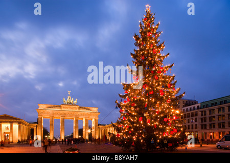 Christmas Tree in Pariser Platz and Brandenburg Gate Berlin Germay - Stock Photo