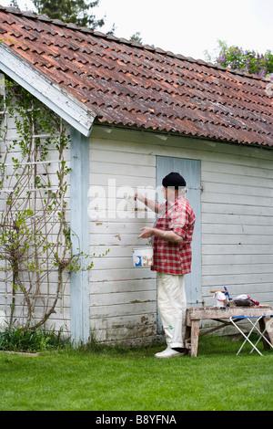 Elderly man painting his summer cottage Sweden. - Stock Photo