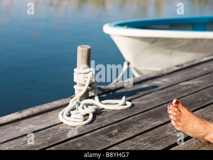 A foot on a jetty. - Stock Photo