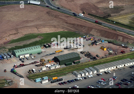 M6 Toll Motorway construction offices and site near Lichfield Staffordshire  junction of Watling Street A5 and Birmingham - Stock Photo
