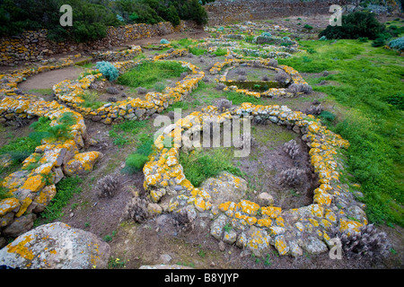 Prehistoric village, Filicudi island, Sicily, Italy - Stock Photo