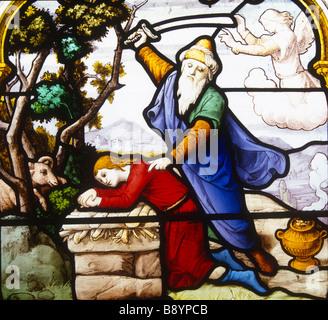 Abraham sacrificing Isaac St Aignan Church Chartres France - Stock Photo