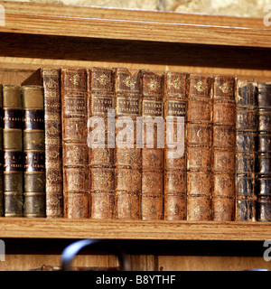 A row of leather bound books on a shelf part of the Charles Wade collection in Meridian at Snowshill Manor - Stock Photo