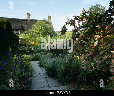 The Old Garden in high summer at Hidcote Manor Garden Gloucestershire - Stock Photo