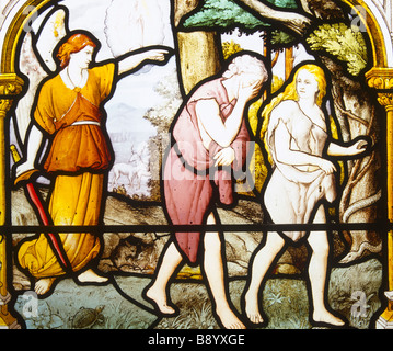 Adam and Eve banished from the Garden of Eden - Stock Photo