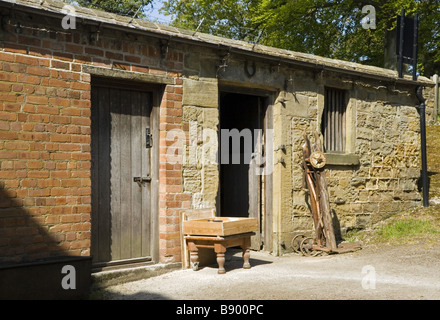 Stainsby Mill on the Hardwick Estate, Derbyshire. A recreation of a fully-functioning water-powered flour mill. - Stock Photo