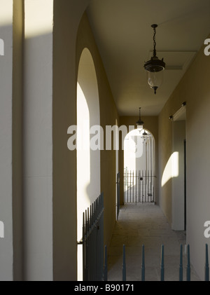 View through the front cloister at the Theatre Royal, Bury St Edmunds, Suffolk. - Stock Photo