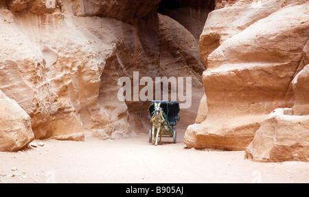 A horse and cart passes through the Siq,  Petra, Jordan - Stock Photo