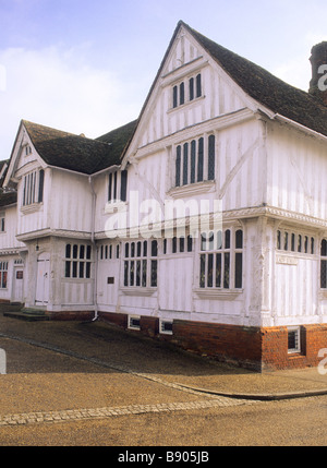 Lavenham Guildhall Suffolk 16th century timbered lime washed building Tudor English architecture museum Guild of - Stock Photo