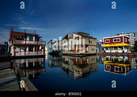 The docks and float homes at Fisherman's Wharf in Victoria, British Columbia, Canada. - Stock Photo