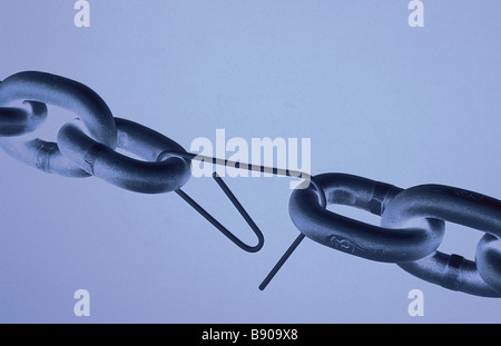 FL0708, T Bonderud; Broken Chain Linked by Paper Clip - Stock Photo