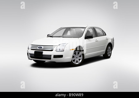 2009 Ford Fusion S in White - Front angle view - Stock Photo