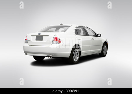 2009 Ford Fusion S in White - Rear angle view - Stock Photo