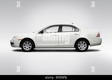 2009 Ford Fusion S in White - Drivers Side Profile - Stock Photo