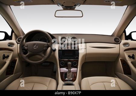 2009 Mercedes-Benz CLK-Class CLK350 in Black - Dashboard, center console, gear shifter view - Stock Photo