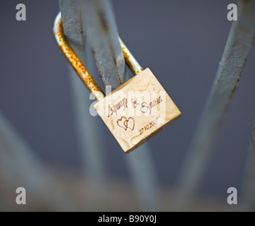 A padlock with inscription close-up. - Stock Photo