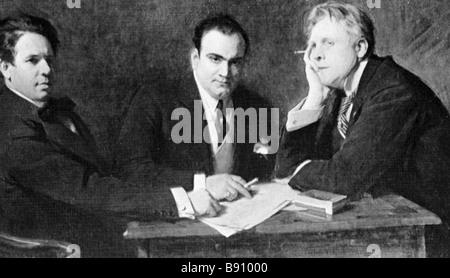 Great opera singers left to right Titta Ruffo Enrico Caruso and Feodor Chaliapin Milan 1900 - Stock Photo