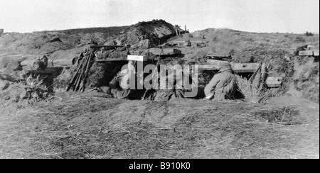 Russian soldiers in the First World War trenches - Stock Photo