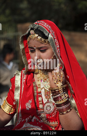 India Rajasthan Jaisalmer Desert Festival rajasthani girl - Stock Photo