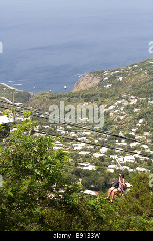 A view of the Isle of Capri and Ana Capri from a the top of the island - Stock Photo