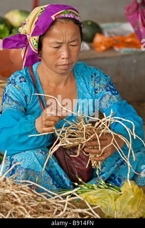 Yi tribes woman at Menghun market, Yunnan, China - Stock Photo