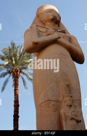 Colossal statue of Pharaoh Ramses II, daughter Princess Bent'anta or Queen Nefertari at his feet, Karnak Temple, - Stock Photo