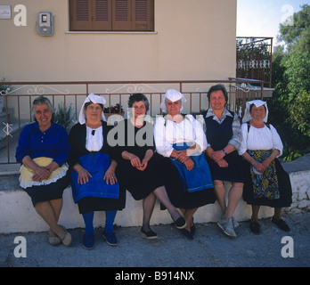 greece ionian corfu a group of elderly corfiot women - Stock Photo