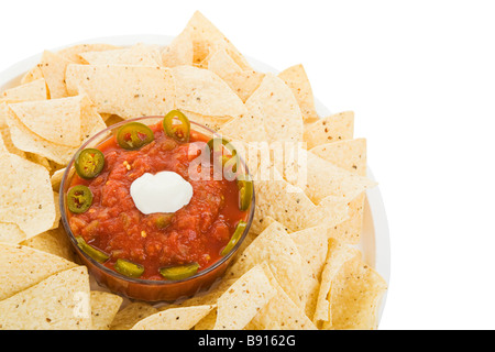 Tortilla chips and salsa isolated with clipping path  - Stock Photo