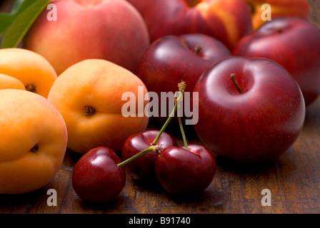 Fresh stone fruits - Stock Photo
