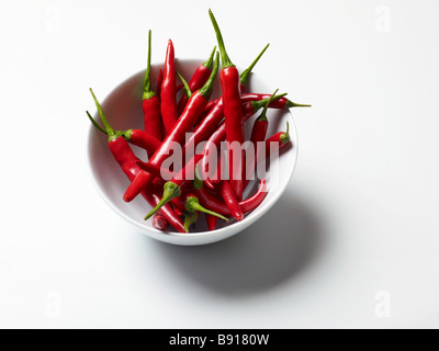 Bowl of fresh red chillies - Stock Photo