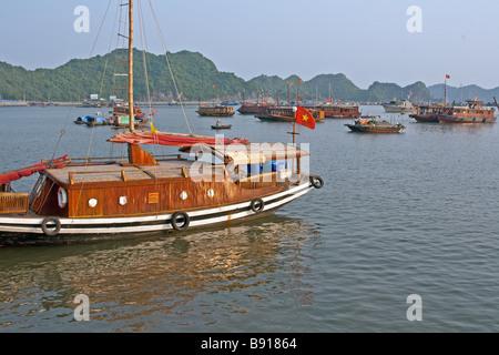 Beautiful traditional Vietnamese boat in Cat ba bay, Vietnam - Stock Photo