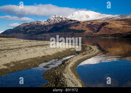 Loch Lomond and a snow capped Ben Lomond on a winters day, Scotland. - Stock Photo