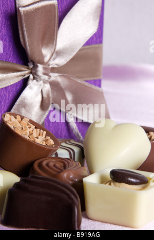 Gift box of assorted Belgian chocolates. - Stock Photo