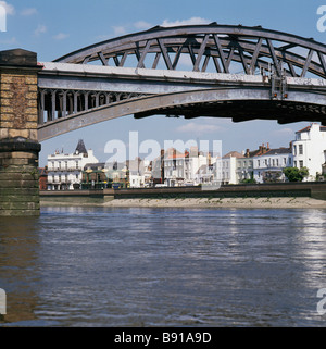 Barnes Bridge and Terrace with river Thames London