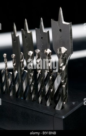 Masonry, wood and brad point drill bits. - Stock Photo